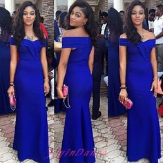 Royal Blue Prom Dresses 2016 New Fashion Off The Shoulder Mermaid Satin Evening Dress Long Party Gown For Teens