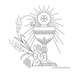 Free ecclesiastical embroidery design - click through for the PDF! Learn Embroidery, Hand Embroidery Designs, Embroidery Stitches, Embroidery Patterns, Première Communion, First Holy Communion, Brother Embroidery Machine, Learning To Embroider, Catholic Art