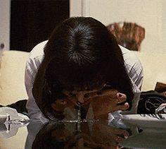 film mine drugs pulp fiction Quentin Tarantino Uma Thurman glitch glitch art film gif