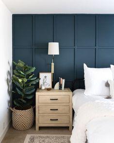 Blue Bedroom Walls, Blue Accent Walls, Accent Wall Bedroom, Home Bedroom, Bedroom Decor, Blue Feature Wall Bedroom, Indigo Bedroom, Bedroom Scene, Master Bedroom Makeover