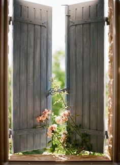 flowers + wooden windows via p. s. i love you