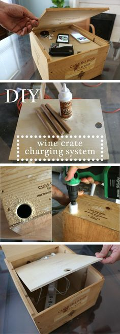 Want to Organize and Hide Your Electronics? Create a Charging System Out of a Wine Crate Wooden Wine Boxes, Cork, Wine Craft, Diy Recycle, Organization Hacks, Getting Organized, Home Projects, Crates, Diy Furniture