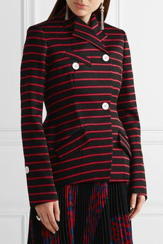 Proenza Schouler - Striped Cotton And Wool-blend Jacquard Blazer - Black - US