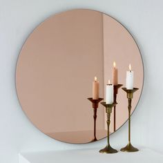 Living Room And Bedroom Combo, Living Room Mirrors, Gold Bedroom, Rose Gold Bed, Rose Gold Mirror, Ikea Girls Room, Mirror Inspiration, Room Inspiration, Modern Mirror Design