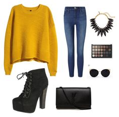"""""""Fall is coming """" by fashion-2003 ❤ liked on Polyvore featuring H&M, Frame Denim, Breckelle's, Yves Saint Laurent, Oscar de la Renta and Una-Home"""