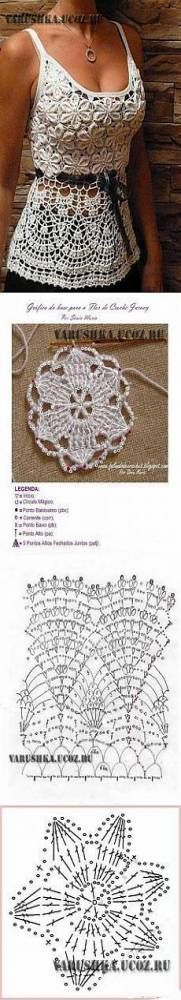 Find and save knitting and crochet schemas, simple recipes, and other ideas collected with love. Gilet Crochet, Crochet Motifs, Crochet Shirt, Crochet Jacket, Crochet Stitches, Crochet Top, Simple Crochet, Crochet Summer Dresses, Crochet Summer Tops
