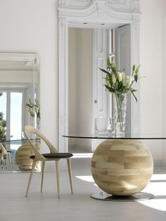 Love the round wood table!