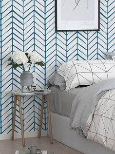 Self adhesive vinyl wallpaper wall decal Chevron by Betapet