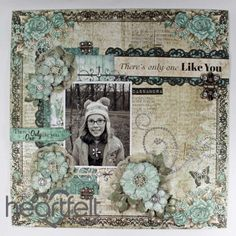 Heartfelt Creations | Teal Roses Layout