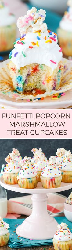 Funfetti Popcorn Marshmallow Treat Cupcakes - A buttery, sprinkle-filled cupcake topped with marshmallow frosting and a popcorn marshmallow treat! Such a fun dessert recipe!