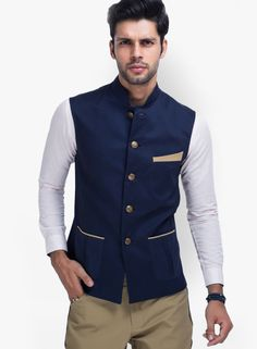 Buy Mr Button Solid Black Ethnic Jacket online in India at best price.Mr Button brings this black coloured sleeveless jacket, which will be a stylish pick to be paired with Nehru Jacket For Men, Nehru Jackets, Jackets For Men, Indian Men Fashion, Mens Fashion, Fashion 2016, Ootd Fashion, Engagement Dress For Men, Modi Jacket