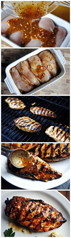 "Grilled Honey Mustard Chicken ""I have made this recipe a dozen times; whether a quick marinade then on the grill, marinade for a few hours then sear on a grill pan or in the oven… and every single time I make it I wonder how it could possibly be so dan I Love Food, Good Food, Yummy Food, Grilled Honey Mustard Chicken, Honey Chicken, Quick Marinade For Chicken, Chicken Breast On Grill, Sides For Grilled Chicken, Baked Chicken"