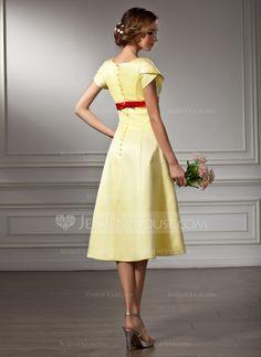 Vestidos princesa/ Formato A Decote V Coquetel Cetim Vestido de madrinha com Cintos Curvado (007001485)