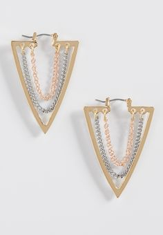 arrow earrings with mixed metal drape chain centers (original price, $10.50) available at #Maurices