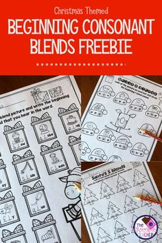 Are you looking for some fun phonics worksheets to use during the month of December? This beginning consonant blend free unit should end your looking! There are 4 worksheets for your students to complete. They are fun and perfect for a first grade student Consonant Blends Worksheets, Phonics Blends, Blends And Digraphs, Phonics Worksheets, 1st Grade Blends, Teaching Phonics, Kindergarten Phonics, First Grade Phonics, Guided Reading Groups