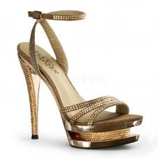 """Pleaser Fascinate-637. 6"""" Stiletto Dual Platform Wrap Ankle Sandal. Available in Black, Gray and Gold(shown)."""