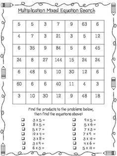 This Back To School Math multiplication search is part of a set with practice for math. There are pages for topics such as rounding, addition, subtraction, multiplication and division. Fourth Grade Math, Math Class, Math Skills, School Classroom, Classroom Ideas, Fun Math Games, Multiplication And Division, Cooperative Learning, Math Workshop