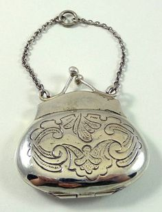 Vintage Sterling Silver Floral Etched Purse Compact Pendant