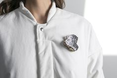 "Credit: Nadine Now, Austrian based jewellery brand www.nadinenow.com/ ""unlasting reflection""- Brooch, MPET, resin,silver"
