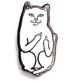 Nermal is the little white cat that graces the front of all the middle finger pocket t-shirts. Now you can add Nermal to any jacket, shirt, hat, or backpack. The hard enamel pin gives you a smooth surface and the metal clasp on the single post will keep t