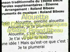 """Music video clip for the lyric video """"Alouette"""" for the song by the same title off of the CD """"Chantons les classiques !"""" by two-time Canadian Music artist of. Alouette, French Songs, All Songs, Music Artists, Music Videos, Lyrics, Classic, Music, Musicians"""
