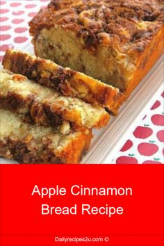 Apple Cinnamon Bread Recipe Ingredients : cup brown sugar (not packed) 1 teaspoon ground cinnamon cup white sugar cup butter. Loaf Recipes, Bread Machine Recipes, Apple Recipes, Baking Recipes, Apple Bread Recipe Healthy, Sweet Bread Loaf Recipe, Carrot Bread Recipe, Dessert Recipes, Quick Bread