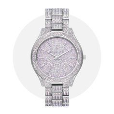 A perennial favorite, our iconic Slim Runway watch gets a sparkling update with allover pavé. This statement style is crafted from silver-tone stainless steel and features an embellished face detailed with minimalist time stops. Juicy Couture Watch, Color Plata, Jewellery Uk, Crystal Choker, Black Jewelry, Sterling Silver Cross, Luxury Watches, Bling Bling, Michael Kors Watch
