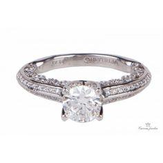 Estate Verragio Platinum Diamond With Sidestones Engagement Ring