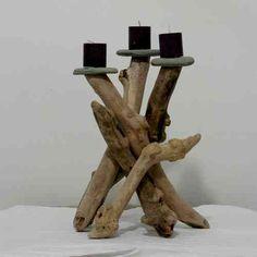 bougeoir élégant en bois flotté