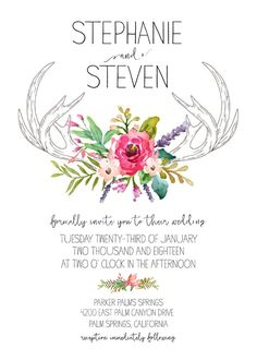 Ideal for a boho chic wedding. Customize our Free wedding printable wedding invitation suite