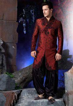 Red Sherwani, Embroidered Sherwani, Sherwani For Men, Groom Sherwani, Wedding Sherwani | $292.35