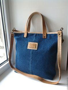"""Купить Сумка """"Джинса-CASUAL"""" - однотонный, сумка ручной работы, джинсовый стиль, джинсовая сумка"""