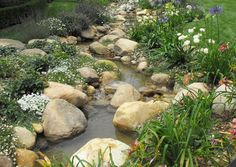 Meandering natural looking stream.