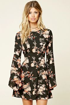 Forever 21 Contemporary - A woven dress featuring a floral print, round neckline, long bell sleeves, self-tie keyhole back, concealed back zipper, and a flared hem. #f21contemporary