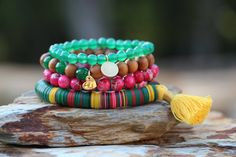 Baylor Game Day Fun Stack Preppy Boho by HappyGoLuckyJewels, $95.00