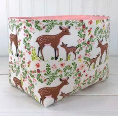 Baby Girl Nursery Decor, Woodland Nursery Decor, Fabric Storage Baskets, Baby Deer, Pink And Green, Organizer Bins, Diaper Caddy, Pink Triangle, Room Decor