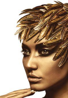 55 Ideas Makeup Gold Fantasy Face Art For 2019 Gold Makeup, Makeup Art, Face Makeup, Beauty Makeup, Hair Beauty, Make Up Gold, Foto Fashion, Golden Goddess, Golden Eyes