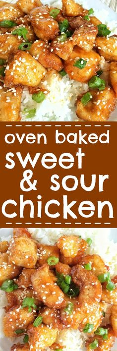 No need for expensive take-out when you can make this fresh, homemade, simple ingredient baked sweet & sour chicken at home! Chunked chicken dipped in cornstarch and egg and then it's lightly fried and then baked to perfection in the oven. An easy homemad