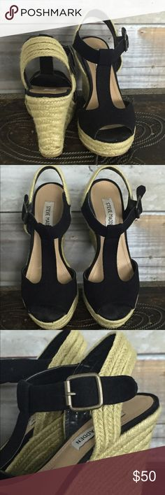 {Steve Madden} Black Canvas Platform Espadrilles Adorable, VERY gently used (only worn maybe twice)...Black Canvas platform espadrilles with natural straw detailed wedge, platform, and heel strap. These are in EXCELLENT condition--no marks anywhere on the upper. Only one tiny rough spot in the wedge but it looks like this is due to the natural nature of the straw material (see photos--you can't see it with naked eye)...these are perfect with skinny jeans pr summer maxi dresses--so cute, and…