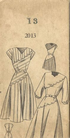 Vintage 1940's Sewing Pattern Spiegal WWII WW2 Scalloped Dress B31""