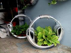 Really cool tire planters
