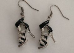Black high heel shoe earrings. #Heels #Shoes #BAB4U