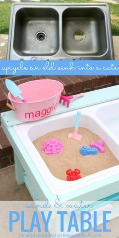 make a kids sand and water table for outdoor sensory play from an old sink, tutorial from Tattered and Inked on Outdoor play areas Build a Kids Sand and Water Table from an Old Sink Kids Outdoor Play, Outdoor Play Areas, Kids Play Area, Backyard For Kids, Outdoor Fun, Diy For Kids, Crafts For Kids, Outdoor Games, Kids Room