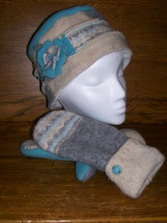 HandMade Wool Hat and Mittens Recycled Felted by UniqueOnceAgain