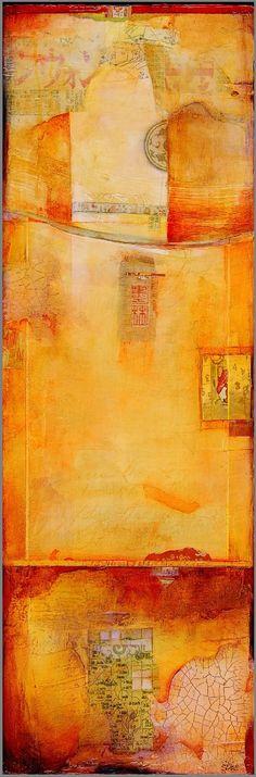 Peinture sur bois avec dominante de jaune et de rouge par CW Slade #woodpainting #abstract #orange