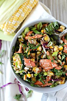 Asian-Inspired Grilled Salmon, Corn & Cucumber Salad
