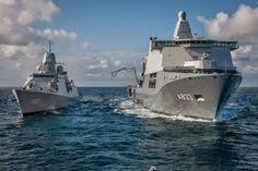 Royal Netherlands Navy PCU Karel Doorman on Trials Escorted by HNLMS Tromp.