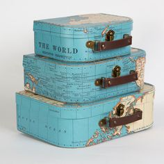 Valisettes en carton Mappemonde Carte du monde Voyage Globe trotter Explorateurs souvenirs - Coup de cœur La Caverne Arc en Ciel