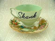Just in case a skank comes over for tea. Tea Love, Coffee Cups, Tea Cups, Vases, Just In Case, Just For You, Cute Mugs, Funny Mugs, My Cup Of Tea