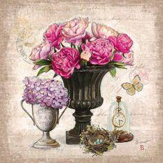 Vintage Estate Florals 1 Canvas Art - Chad Barrett x Vasos Vintage, Vintage Diy, Chad Barrett, Decoupage Printables, Raindrops And Roses, Art Carte, Images Vintage, Decoupage Paper, Oeuvre D'art